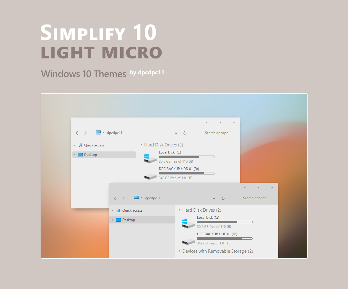 Simplify 10 Light Micro - Windows 10 Themes