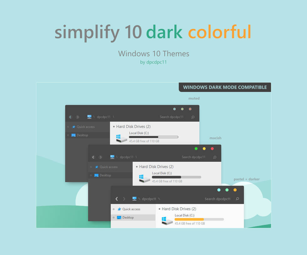 Top Five Simplify 10 Dark Windows 10 Theme Pack Download