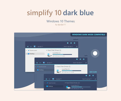 Simplify 10 Dark Blue - Windows 10 Theme