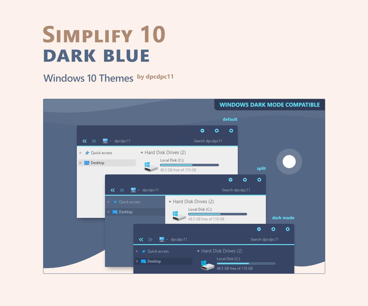Simplify 10 Dark Blue - Windows 10 Themes