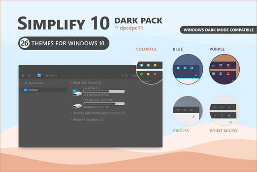 Simplify 10 Dark - Windows 10 Theme Pack
