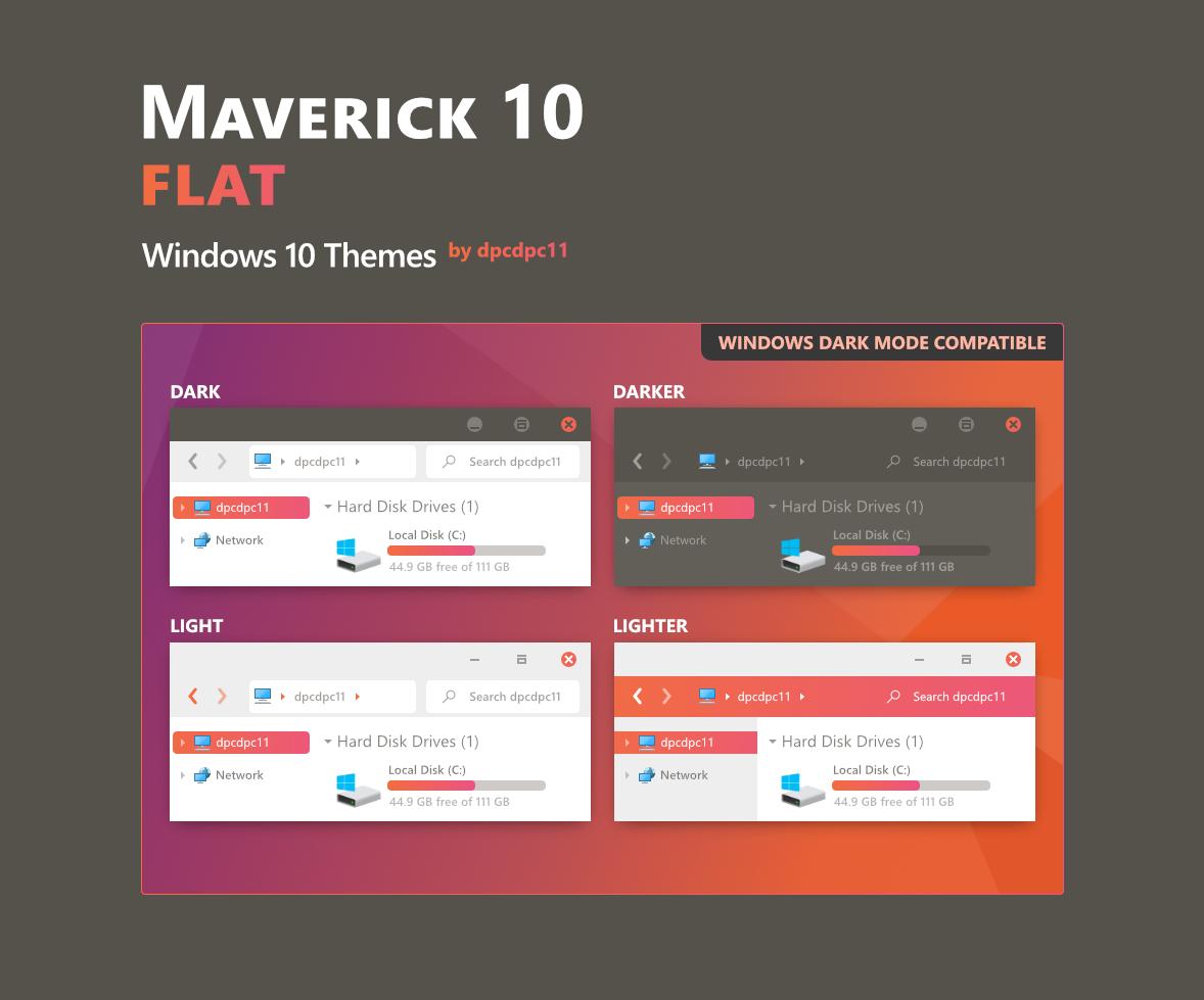 Maverick 10 Flat - Windows 10 Themes (6 in 1)