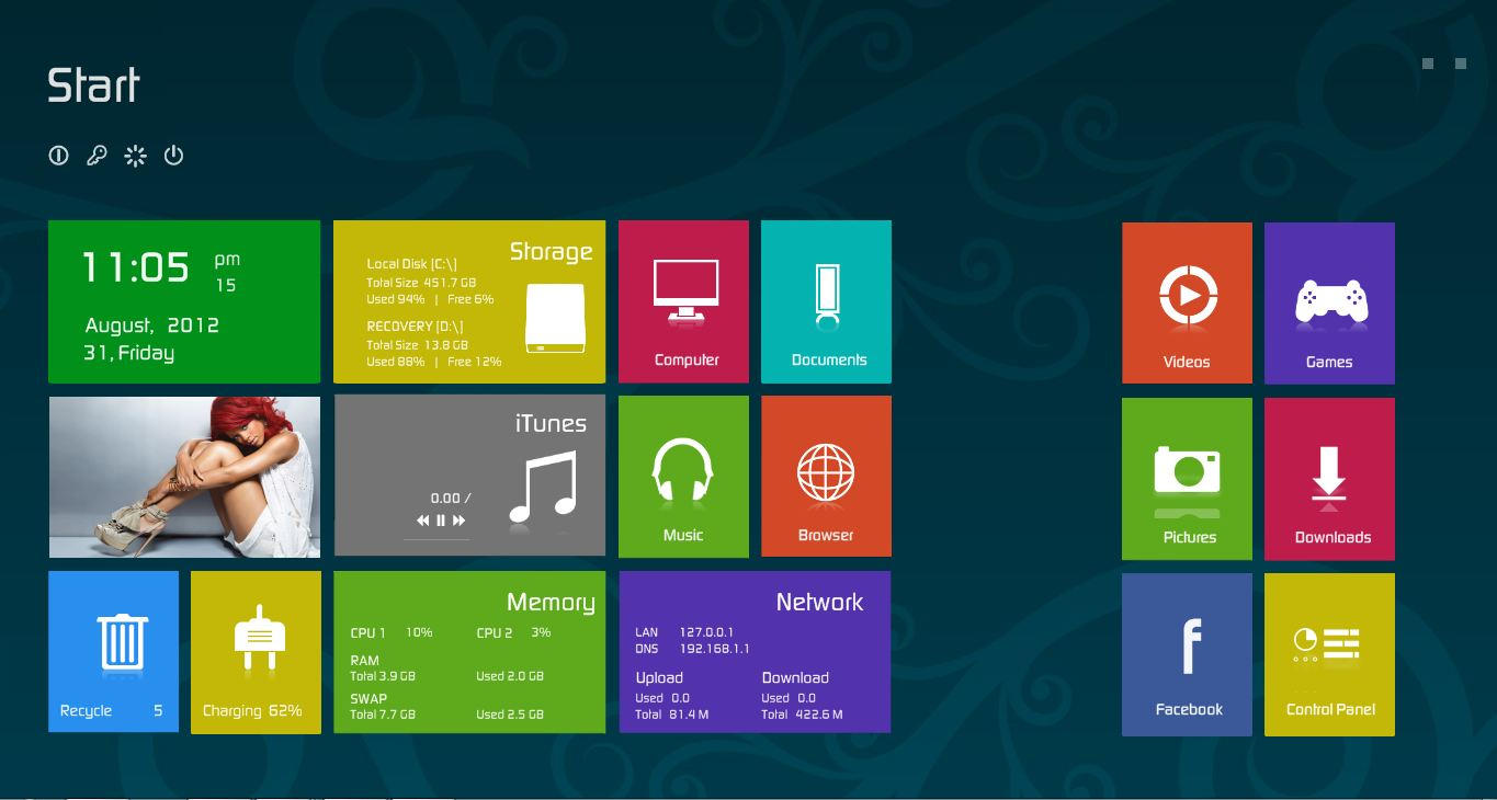 Rainmeter Windows 8 by jonptr