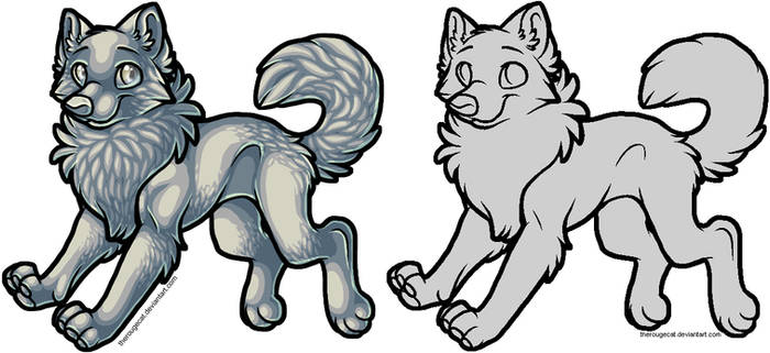 Free wolf lines, PS + MSpaint
