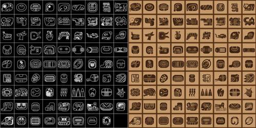 mayan glyphs vector