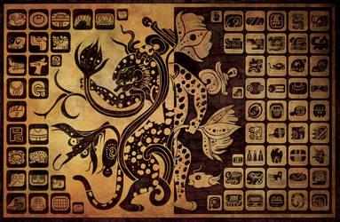 mayan glyphs wallpaper by ikarusmedia