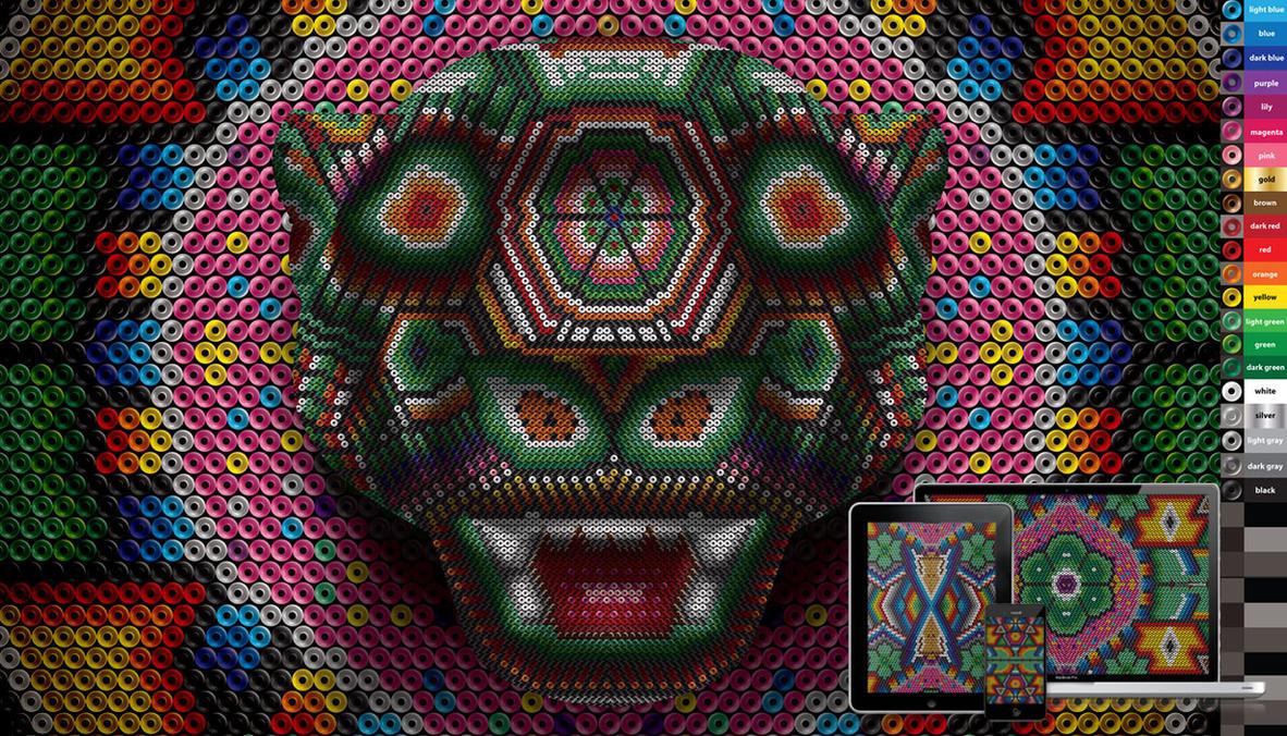 huichol jaguar wall, vector and pixel freebie by ikarusmedia
