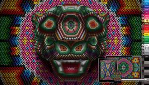 huichol jaguar wall, vector and pixel freebie