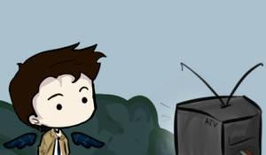 Castiel's watching TV! by VicemirAlex