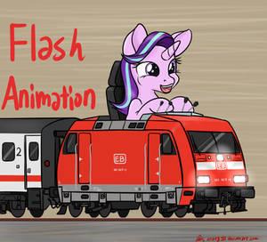 Choo-Choo ~! Glimmer drives train !