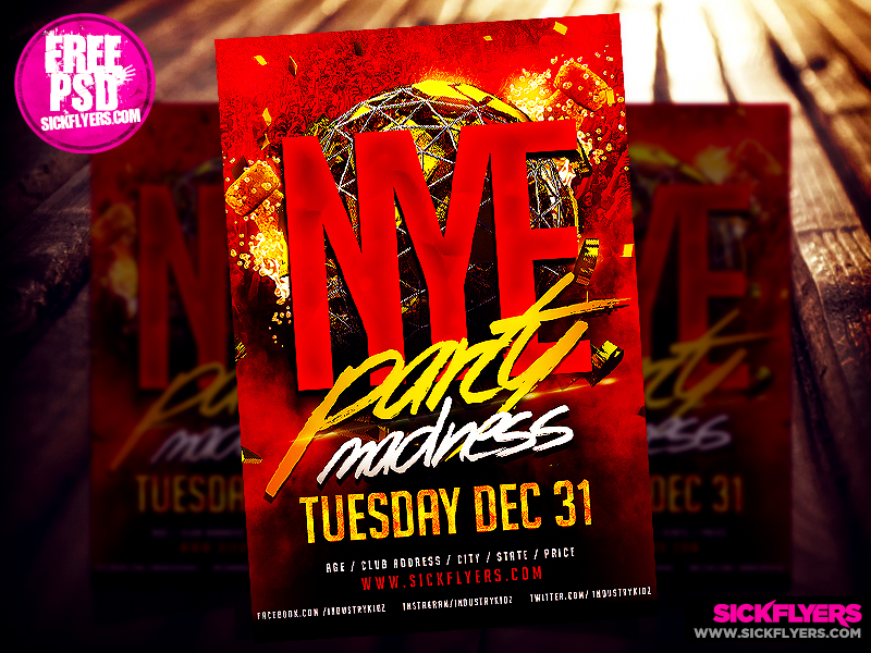 Free New Years Eve Flyer Template PSD By Industrykidz