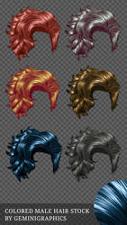 Colored Male Hair Stock