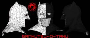 Arkham Batman Memorial Bust Pepakura by GANKUTSU-O-TAKU on