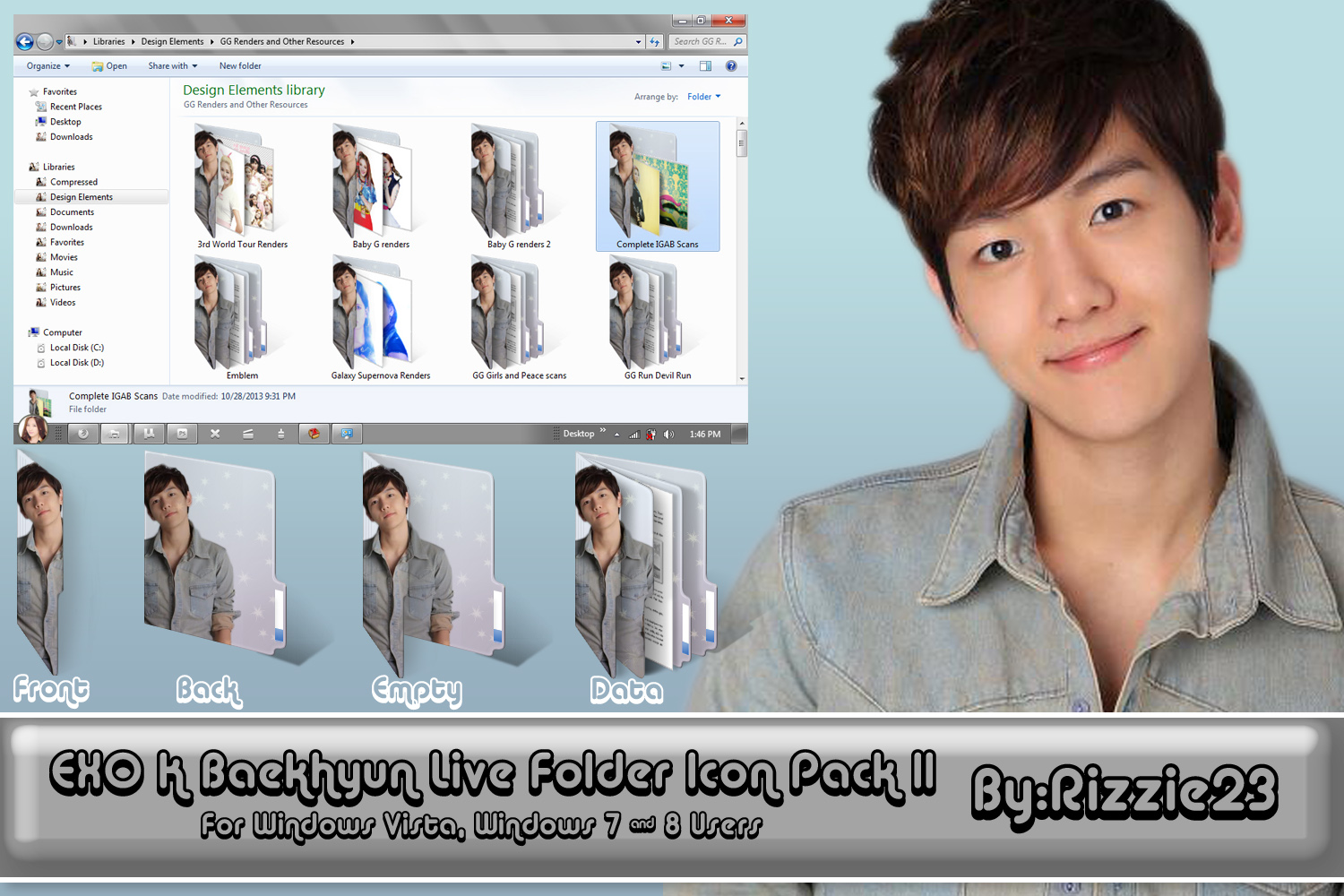 Baekhyun Live Folder Icon Pack 2 by Rizzie23
