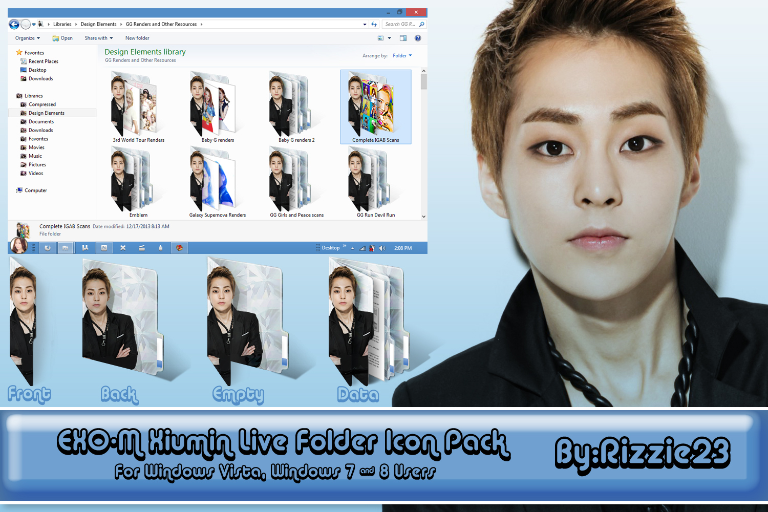 Xiumin Live Folder Icon Pack by Rizzie23