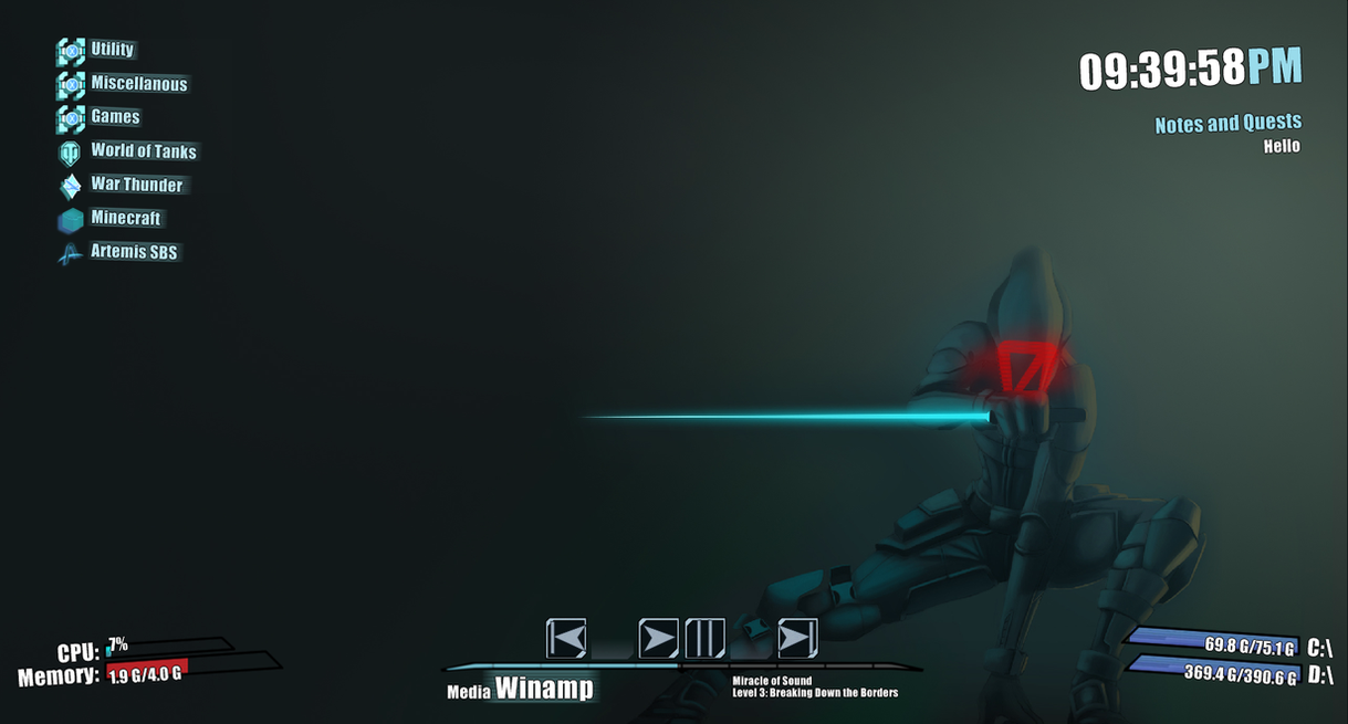 Borderlands 2 Rainmeter Skin by szkieletor73
