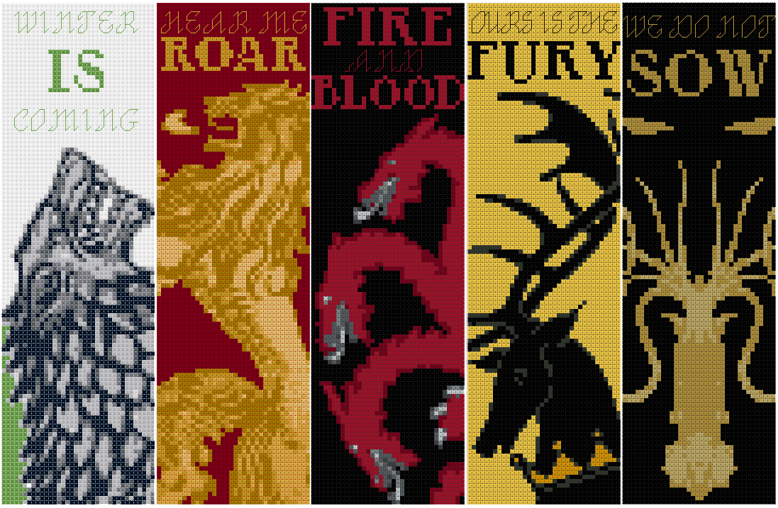 Game of Thrones: Bookmarks - Cross Stitch Patterns by black-lupin