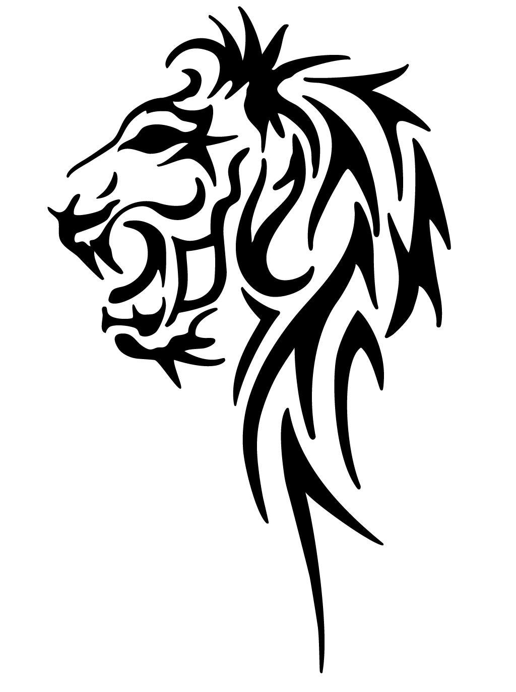 Lion Head Tribal Tattoo Designs