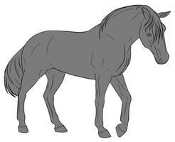 10pt Horse Lineart - Walking by lionsilverwolf