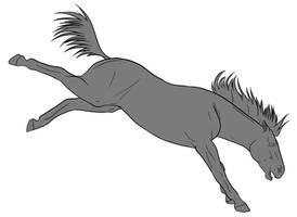 10pt Horse Lineart - Bucking by lionsilverwolf