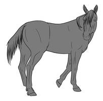 10pt Horse Lineart - Standing by lionsilverwolf