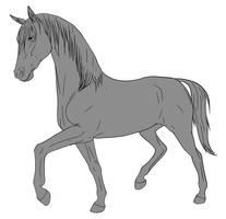 10pt Horse Lineart - Prance by lionsilverwolf