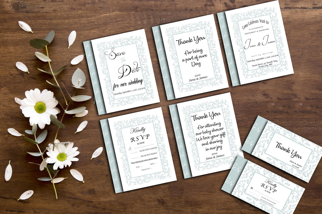 Blue Flower Wedding Invitation card by mream on DeviantArt