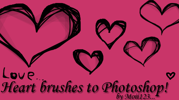 Heart brushes to Photoshop