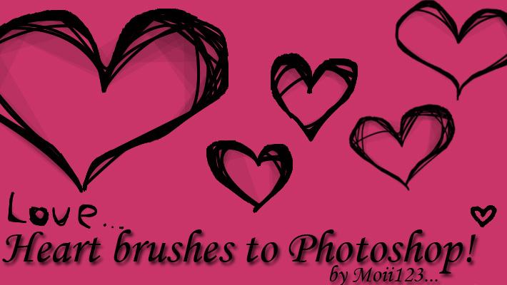 Heart brushes to Photoshop