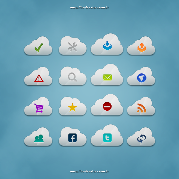 Download PSD Clouds Icon Pack