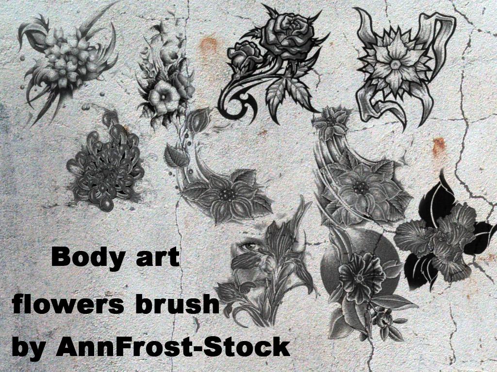 Body art flowers brush set