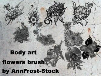 Body art flowers brush set by AnnFrost-stock
