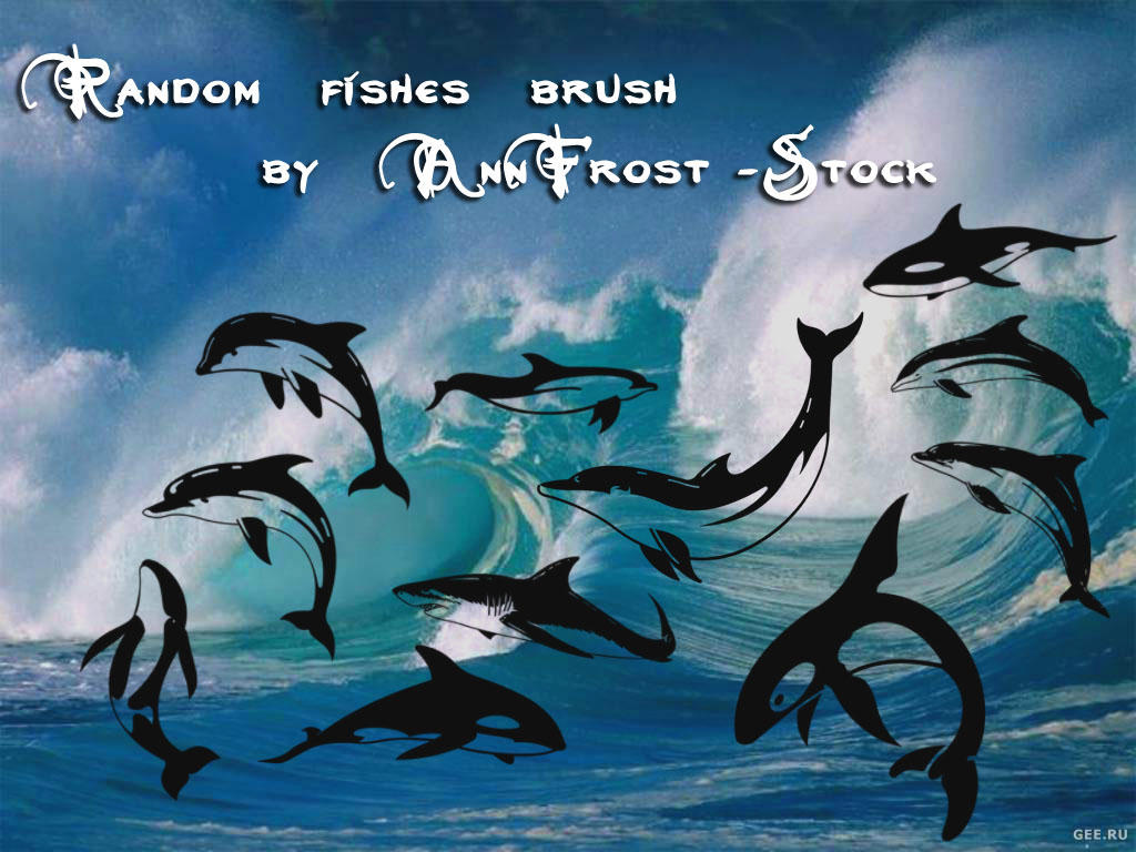 Random fishes brush set by AnnFrost-stock