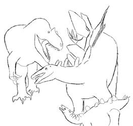 Allosaurus VS Stegosaurus Dinovember Day 7 by ThePrimevalArtist
