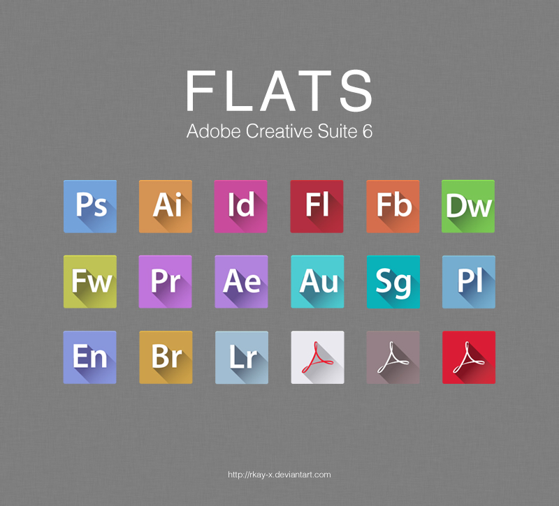 FLATS Adobe CS6 Icons by RKay-x