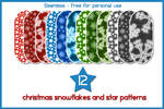 12 Snowflakes and Star patterns