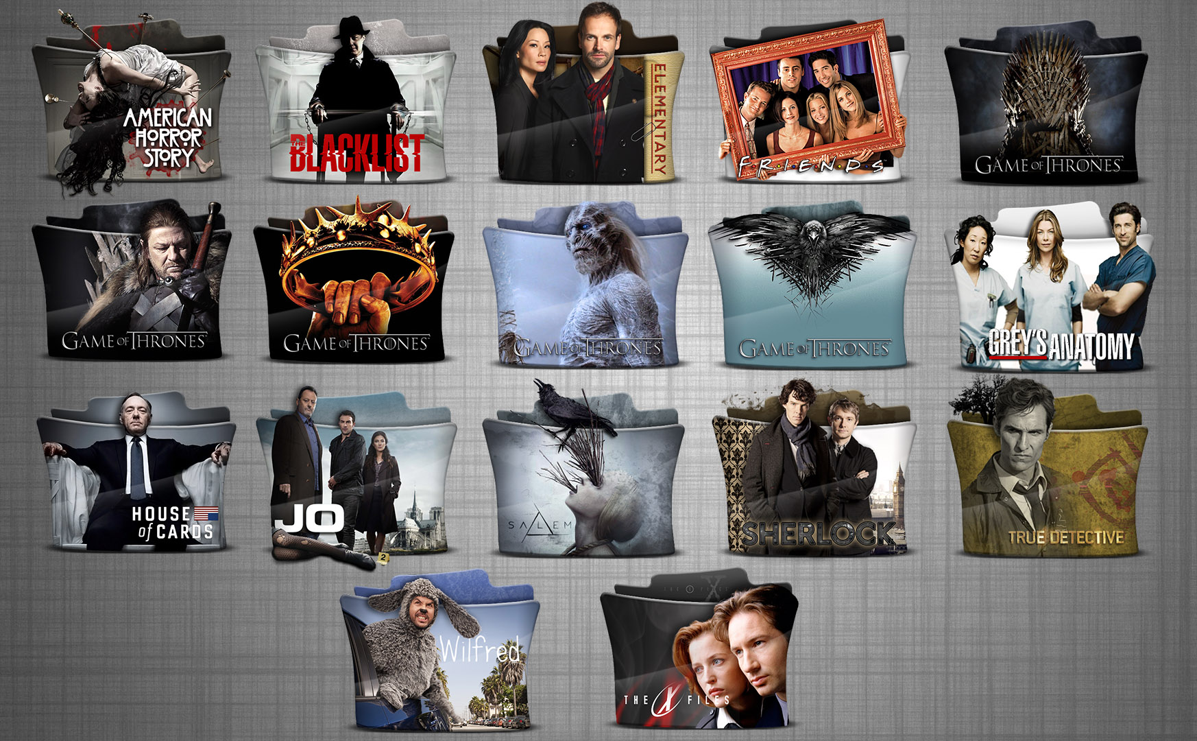 TV Series Folder Icons pack 6 HD 512x512p by stavrosvran