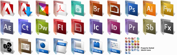 Adobe CS3 Vista Glass Folders by ChadJackson