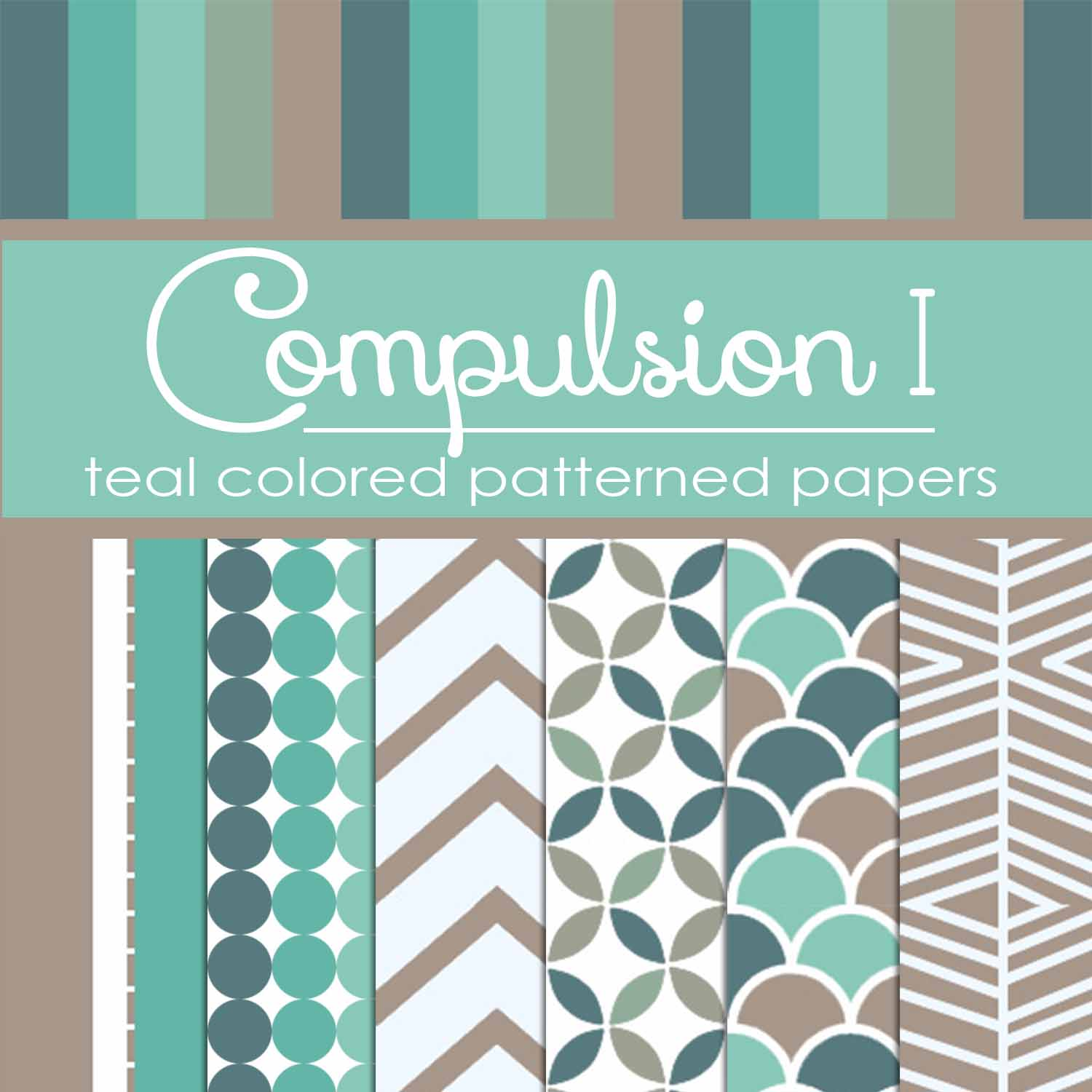Compulsion I: Teal Colored Pattern Papers (FREE)