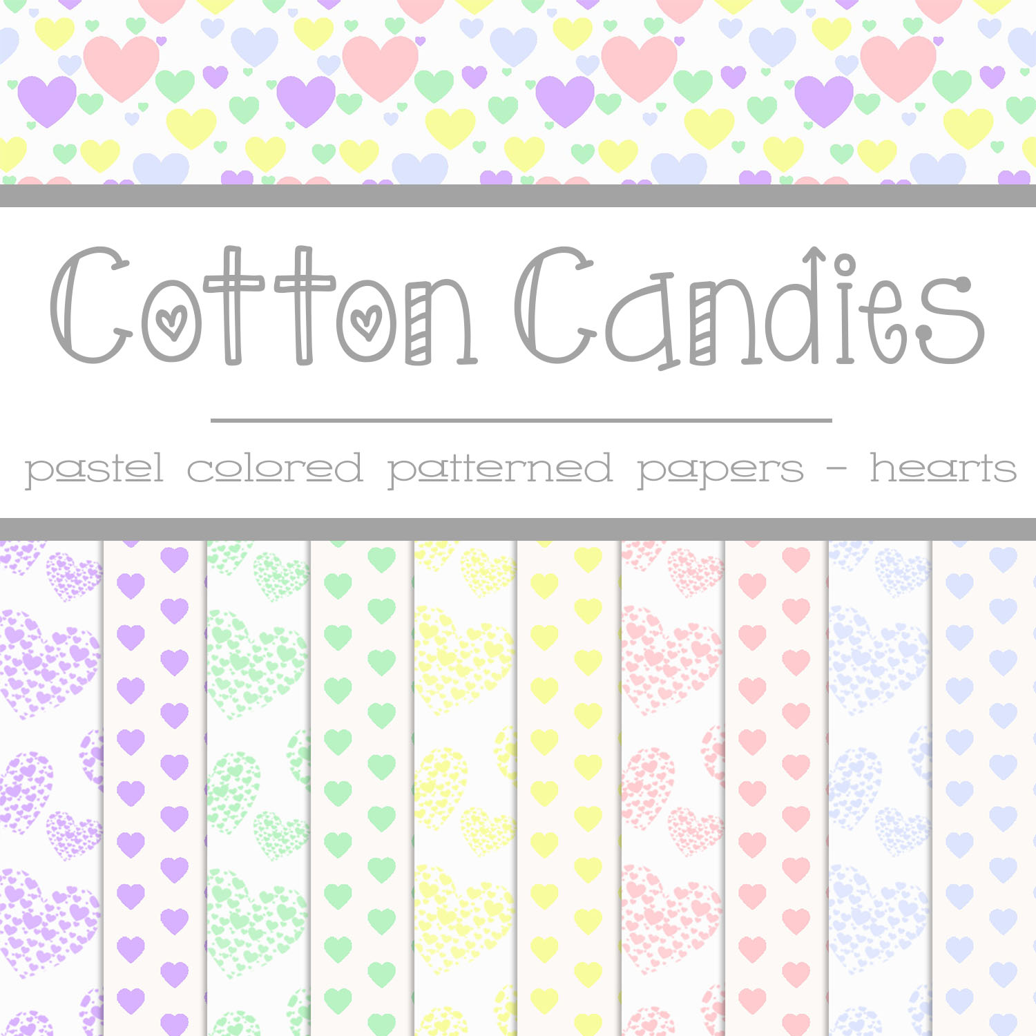 Free Cotton Candies: Heart Patterned Papers by TeacherYanie