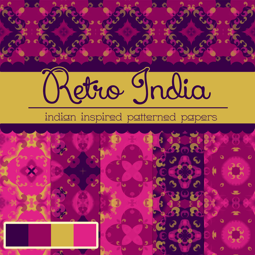 Photoshop India Patterned Papers free_retro_india_pat