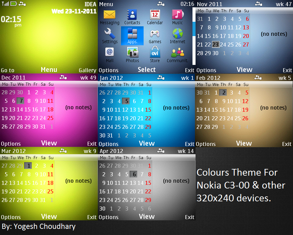 Colours theme for Nokia C3 and other 320x240 by cyogesh56