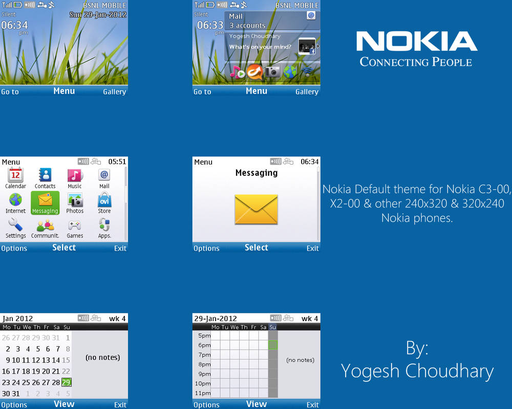 Nokia Default theme for C3-00 and X2-00: Updated by cyogesh56 on