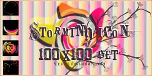 . Storming icon 100x100 set .