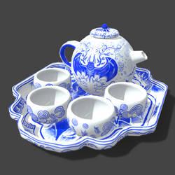 Batty Blue China Tea Set