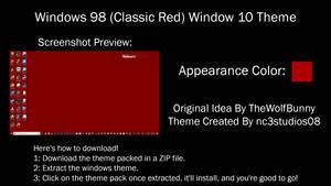 Windows 98 (Classic Red) Windows 10 Theme