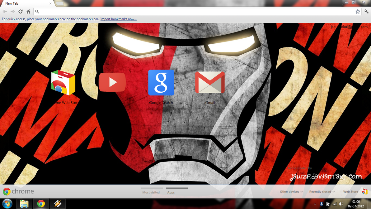 Google chrome theme iron man - Iron Man 2 0 Chrome Theme By Jawzf