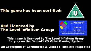Game-Fi X3 Licence Screens