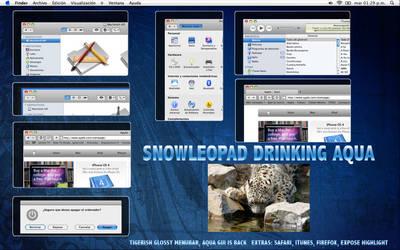 SnowLeopard Drinking Aqua V.1 by esmasgdl