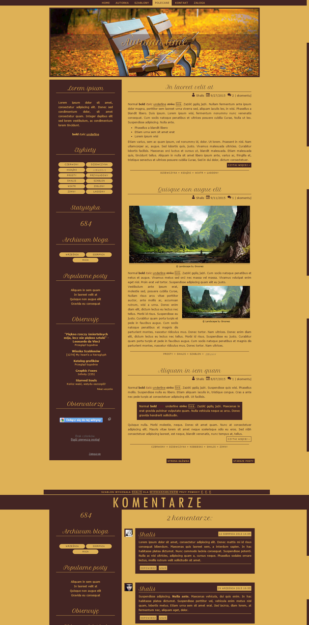 Blogspot template Autumn time by MySensitiveHeart